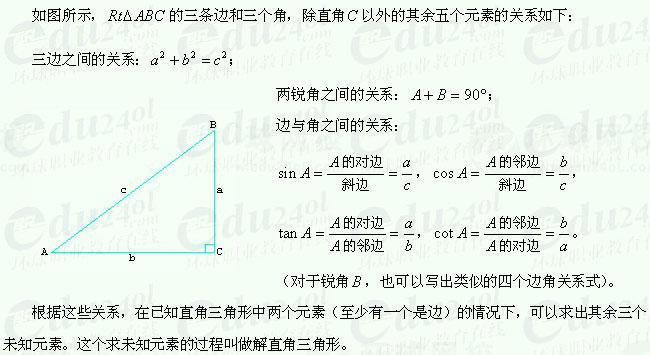 【江苏成考】复习资料文科数学讲义19--解直角三角形